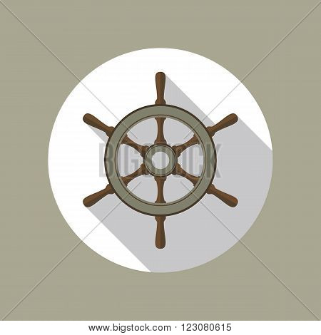 Boat's wheel flat icon inside the circle. EPS10 vector illustration.