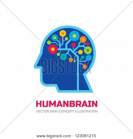 Human brain - vector logo concept illustration. Mind logo sign. Human brain in style of electronic structure. Education logo sign. Thinking logo sign. Creative idea logo sign. Human head illustration.