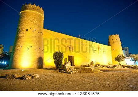Riyadh, night view of the Masmak Fortress (XIX century) in the old city center.