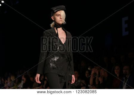 ISTANBUL TURKEY - MARCH 18 2016: A model showcases one of the latest creations of Tuba Ergin in Mercedes-Benz Fashion Week Istanbul