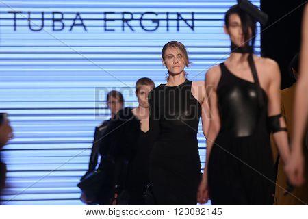 ISTANBUL TURKEY - MARCH 18 2016: Models showcase the latest creations of Tuba Ergin in Mercedes-Benz Fashion Week Istanbul