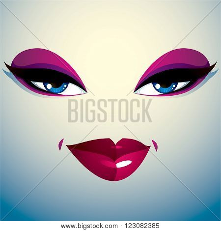 Coquette woman eyes and lips stylish makeup. People facial emotions sly and tricky.