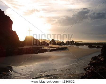 Glowing Cross By The Sea