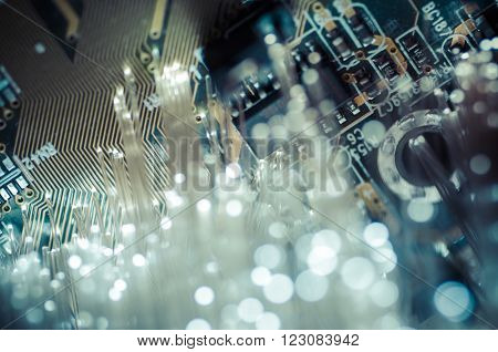 Connectivity.Fiber optic cables, fibre connection, telecomunications concept.