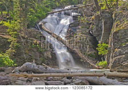 North Twin Falls in Glacier National Park in Montana ** Note: Soft Focus at 100%, best at smaller sizes