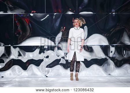 ZAGREB, CROATIA - MARCH 17, 2016: Fashion designer Martina Budek, Aman on the Bipa Fashion.hr fashion show in Zagreb, Croatia. Aman is fashion designer Martina Budek.