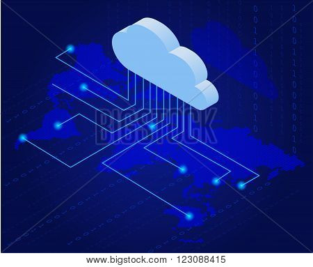 Bitcoin in cloud. Bitcoin mining isometric flat vector concept. Cloud technology. Virtual money. Flat 3d isometry isometric online mining bitcoin concept poster