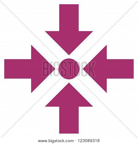 Shrink Arrows vector icon. Style is flat icon symbol, purple color, white background.