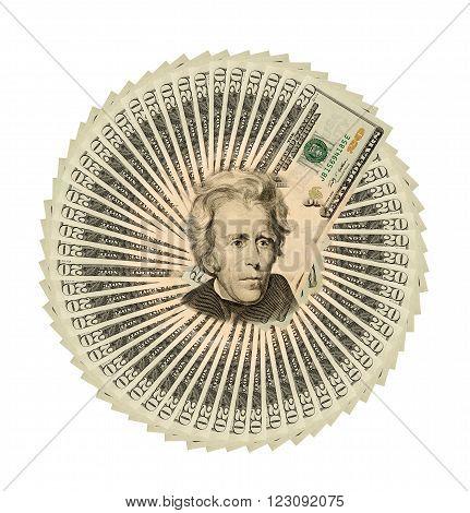 Collage Of Twenty Dollar Bills Close-up For Background