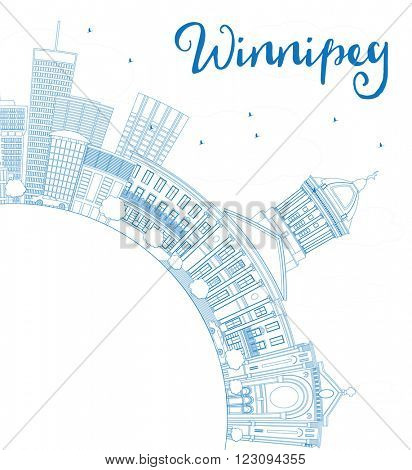 Outline Winnipeg Skyline with Blue Buildings and Copy Space.. Business Travel and Tourism Concept with Modern Buildings. Image for Presentation Banner Placard and Web Site.