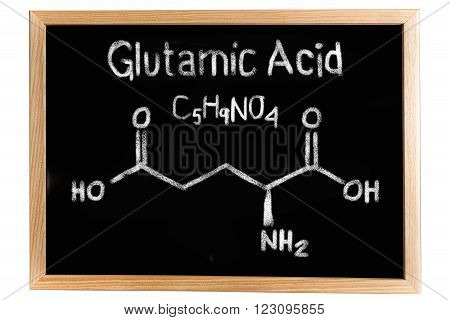 Blackboard with the chemical formula of Glutamic acid