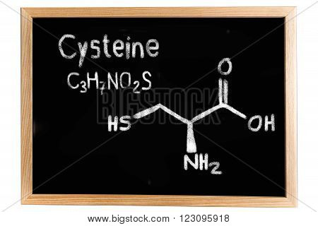 Blackboard with the chemical formula of Cysteine