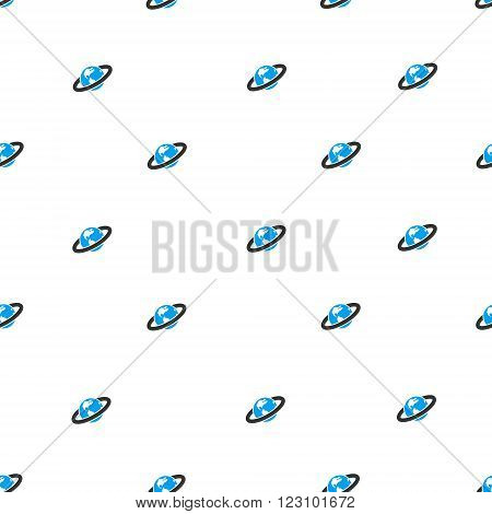 Ringed Planet vector seamless repeatable pattern. Style is flat blue and dark gray ringed planet symbols on a white background.