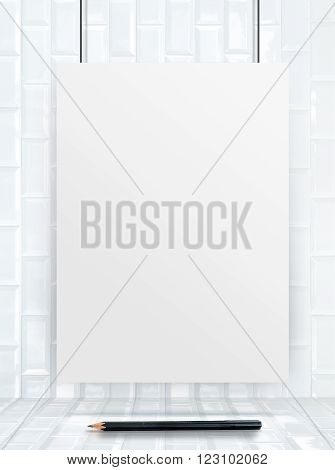 Hanging Paper Poster Frame At Ceramic Tiles Wall And Floor,