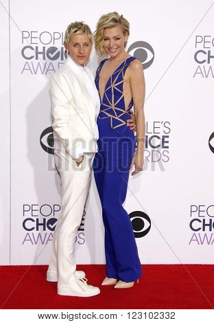 Ellen DeGeneres and Portia de Rossi at the 41st Annual People's Choice Awards held at the Nokia L.A. Live Theatre in Los Angeles on January 7, 2015.