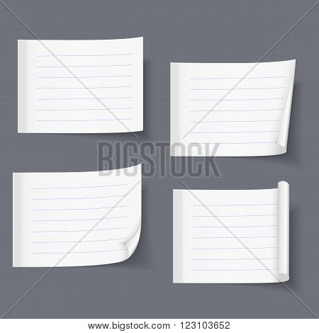 Lined sticky notes set, blank lined paper lined, paper with curl, vector eps10 illustration