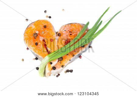 Salmon sliced as heart shape isolated on white background