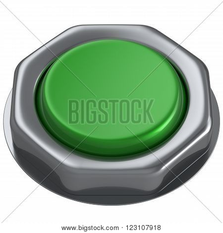 Button green push down activate power switch start turn on off action ignition electric design element metallic shiny blank. 3d render isolated