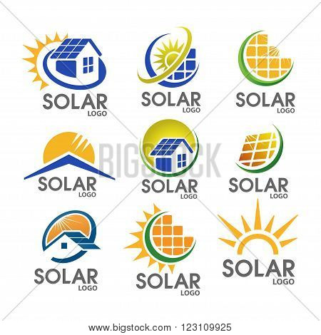 Solar logo concept, strong, minimalist and modern suitable for all business