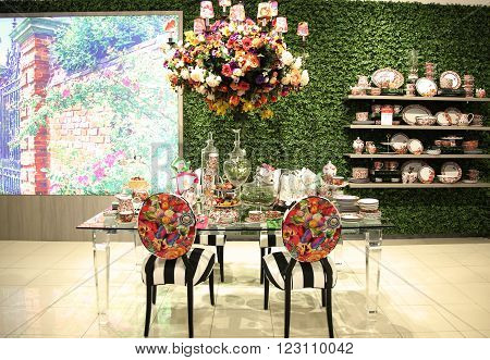 NEW YORK - MARCH 22, 2016: Lenox by Mello Tablescape flower decoration during famous Macy's Annual Flower Show in the Macy's Herald Square in midtown Manhattan