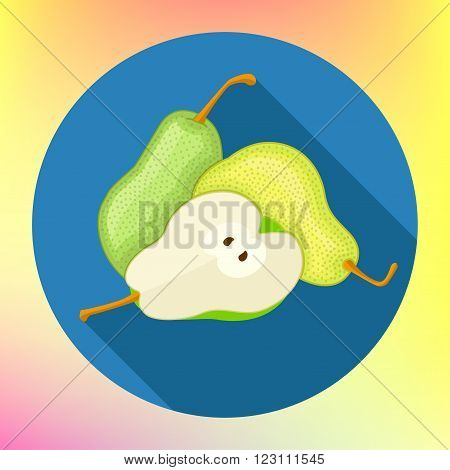 Pear icon, modern minimal flat design style, vector illustration. Pear Icon. Pear Icon Vector. Pear Icon App. Pear Icon Web.Pear Icon Logo. Pear Icon Sign. Green pears vector illustration