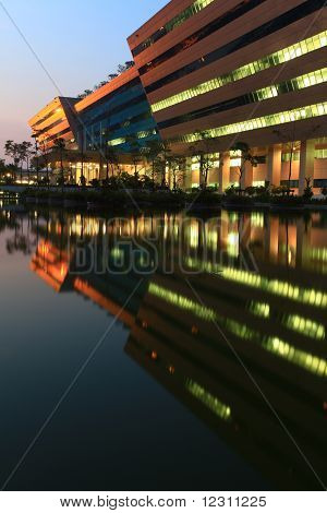 Bangkok Dec 20 : Part Of Government Complex Shines At Dusk In Bangkok Thailand On Dec 20.2010. Gover
