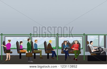 Passengers in public transport concept vector banner. People in bus. Transport interior.