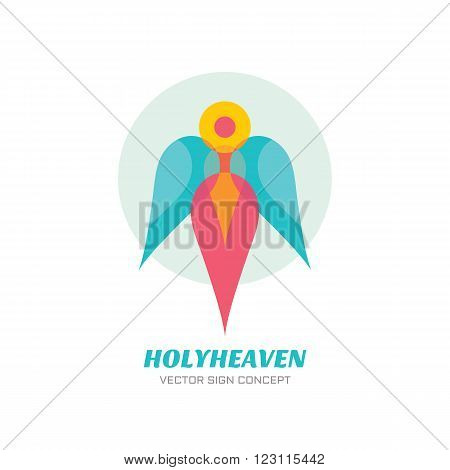 Holy heaven - vector logo concept illustration. Archangel logo sign. Guardian angel logo sign. Human character with wings. Christmas sign. Vector logo template. Design element.