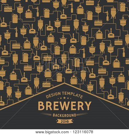 Card template with label on background with beer brewery elements, icons, logos, design elements. Brewing process, brewery factory production elements, traditional beer crafting. Vector