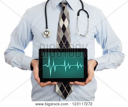 Doctor Holding Tablet - Heartbeat Graph