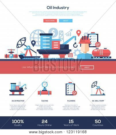 Oil and gas production industry web site one page website template layout with flat header, banner, icons and other flat design web elements
