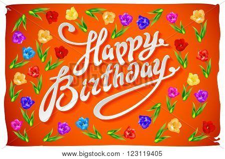 Vector Happy Birthday Card Flower Tulip Vintage Orange Background