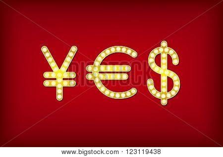 Yes In Form Money Symbol, 3D Vector Vintage