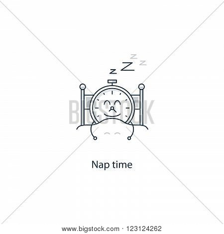 Nap time cute concept, linear design illustration