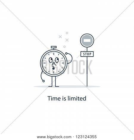 Time is limited concept, linear design illustration