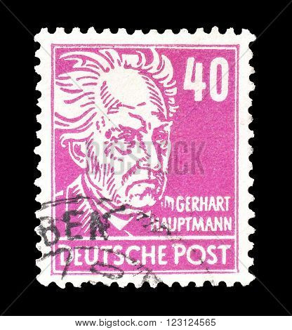 GERMANY - CIRCA 1948 : Cancelled postage stamp printed by Germany, that shows portrait of Gerhart Hauptmann.