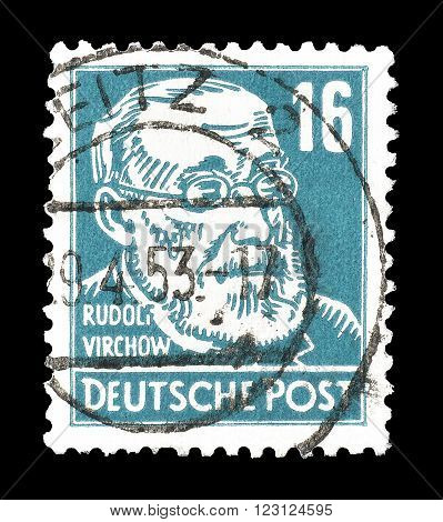GERMANY - CIRCA 1948 : Cancelled postage stamp printed by Germany, that shows portrait of Rudolf Virchow.