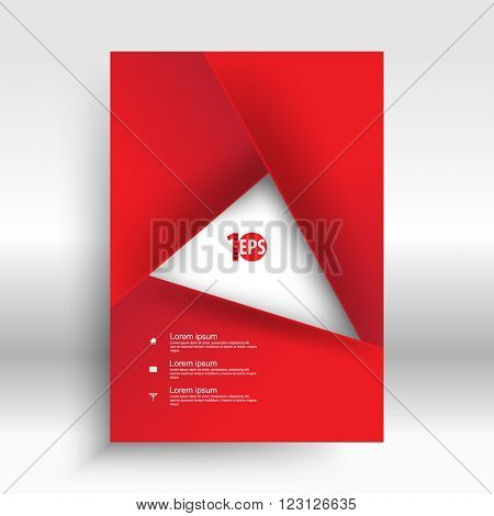 red geometric overlapping elements forming rectangle frame abstract design. eps10 vector