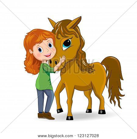 Little girl standing next to a horse.