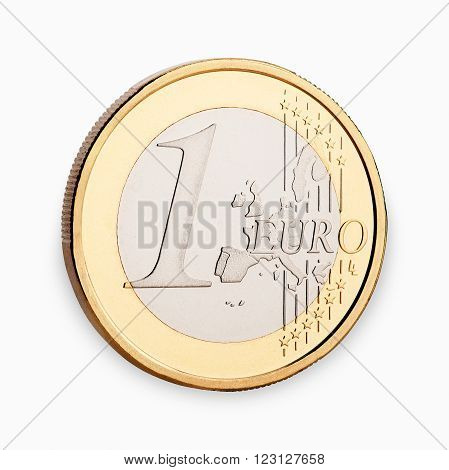 one euro coin frontside isolated on white background