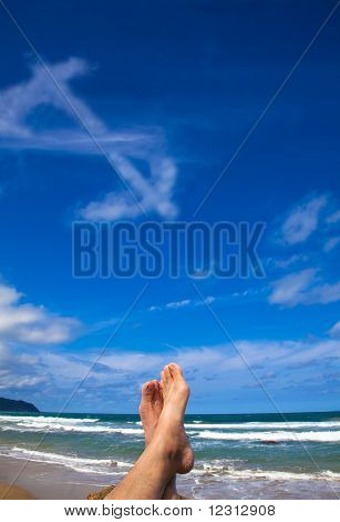 Lying on the beach with dollar symbol cloud