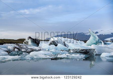 Iceberg in Jokulsarlon glacier lagoon in Iceland. Icebergs originating from the Vatnajokull, the biggest glacier in Europe