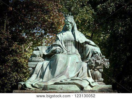BUDAPEST, HUNGARY, JULY 10, 2015: Statue Of Empress Elisabeth of Austria (Erzsebet Kiralyne) born 24 December 1837 and assassinated on 10 September 1898.