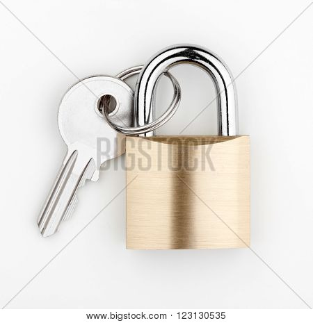 safety concept lock and key on white background