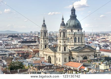 BUDAPEST; HUNGARY, JULY 9, 2015: Aerial view of St. Stephen's Basilica, a Roman Catholic basilica in Budapest, Hungary. It is named in honour of Stephen, the first King of Hungary.