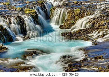 Detail of the lovely Bruarfoss waterfall in Iceland
