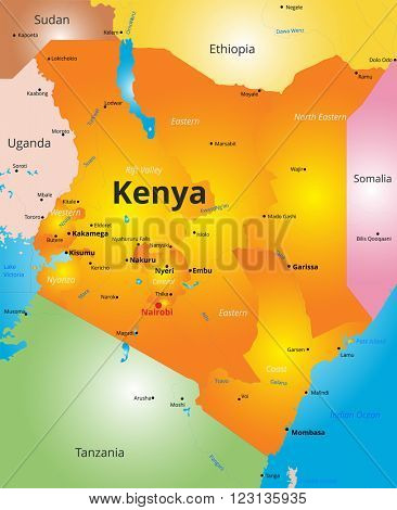 color map of Kenya country