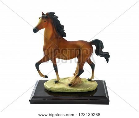 Horse runs Horse souvenir made of resin perfect design and realism with isolated on white background.