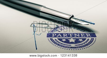 Trusted partner mark imprinted on a paper texture with signature and fountain pen. Concept image for illustration of trust in partnership and business services. 3D illustration