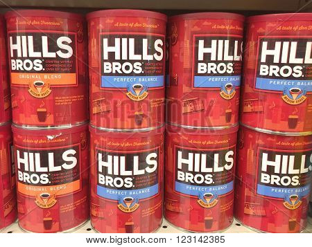 SPENCER WISCONSIN March 25 2016 Several cans of Hills Bros. coffee on a grocery store shelf Hills Bros. is an American based company founded in 1900.